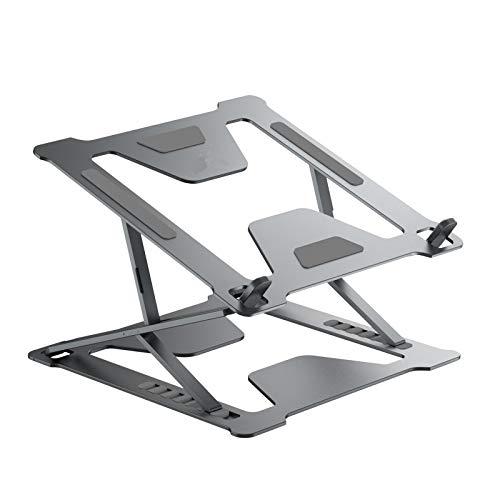 JoiseTech Ergonomic Laptop Desk Stand Portable Foldable Adjustable Notebook Holder for Home Office, Multi-Functional Aluminum Computer Riser for 10-17.3' Apple MacBook HP Dell XPS Chromebook (Gray)