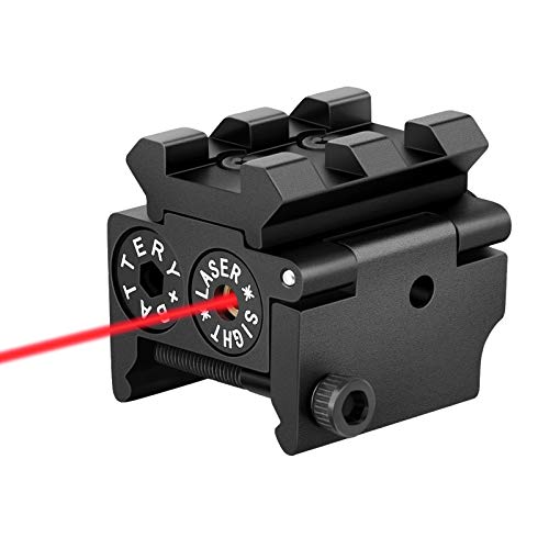 EZshoot Mini Red Laser Red Dot Gun Sight with Rail Mount for Pistol Handgun Low Profile Rifle with Two Sets of Batteries