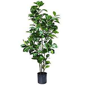 momoplant 43inch/3.6ft Artificial Boxwood Topiary Tree Artificial Silk Palm Tree Feaux Ficus Plant Fake Boxwood Topiary Artificial Outdoor Faux Tropical Tree Faux Topiary Tree Outdoor,Set of 1