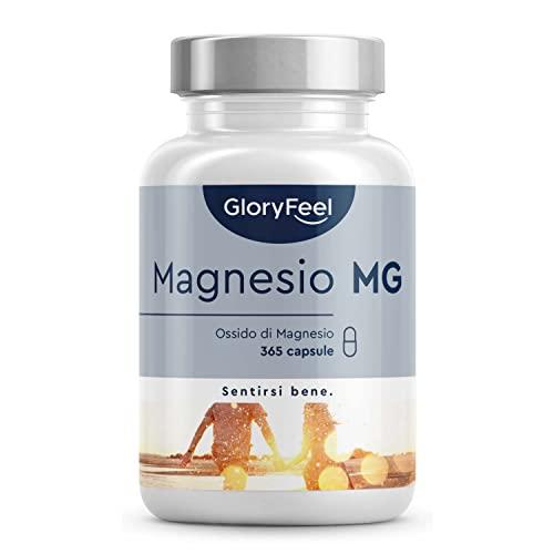 Magnesio Integratore, 365 Capsule (Scorta 1+Anno), 665mg Ossido di Magnesio di cui 400 mg Magnesio Elementare Puro per Capsula, Magnesio Marino ad Alto Assorbimento, Integratore Muscoli
