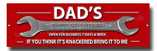 Dads Shed Quarters funny little metal sign