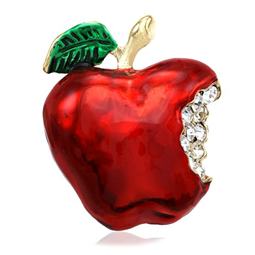 Soulbreezecollection Red Teacher's Apple Fruit Brooch Pin Clear Rhinetones Enamel Fashion Jewelry