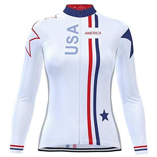 HIRBGOD Team USA - Camiseta de ciclismo de manga larga para mujer, XXL, Blanco