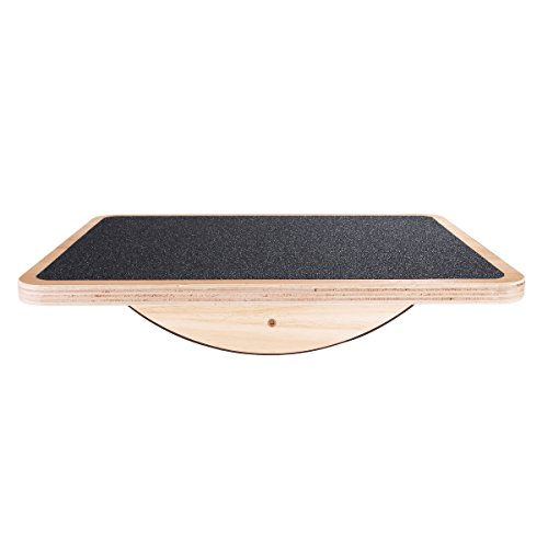 Review Professional Wooden Balance Board, Rocker Board, 17.5 Inch Wood Standing Desk Accessory, Bala...