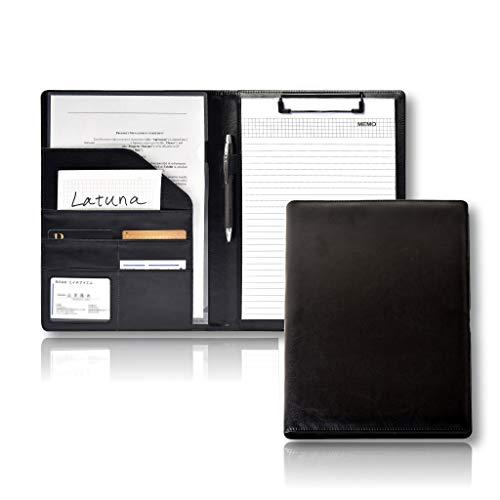 [Latuna] バインダー A4 革 クリップボード プレゼント ギフト 贈り物 PU 高級感 クリップ ファイル 二つ折り 多機能 ペンホルダー ポケット付き 名刺入れ (ブラック, PUレザー)