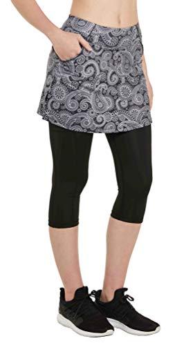 Westkun Pantalones de Falda de Mujer Corte de Hendidura Deportes Tenis Golf Rock Legging 3/4 Tela elástica 2 en 1 Capris con Bolsillos