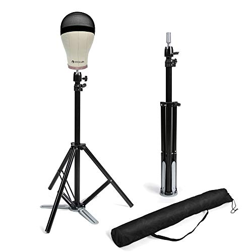 HYOUJIN Heavy Duty Metal Adjustable Tripod Stand Holder Wig Stand for Canvas Block Head Hairdressing Training Head Mannequin Head with Carry Bag