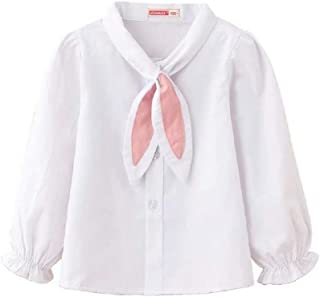 Toddler Girl Shirts Long/Short Sleeve Girls Blouse Clothes Formal Student School Uniform with Pink Scarf Bowtie