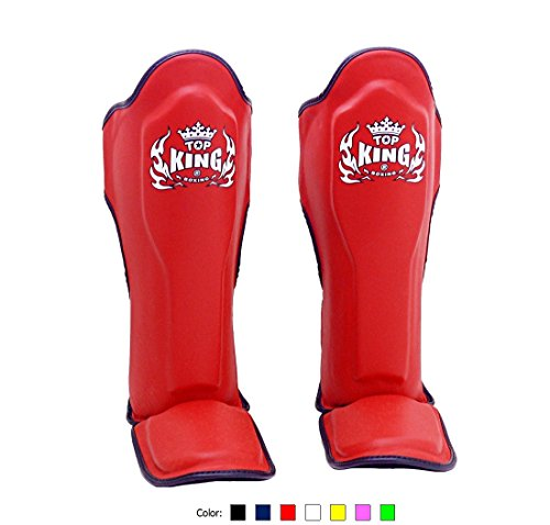 Top King Muay Thai Shin Pads TKSGP GL - Shin Guards Pro Genuine Leather -Red w/Black Trim Size: M L XL, Shin Protection for Muay Thai Kick Boxing MMA K1 (Red, M)