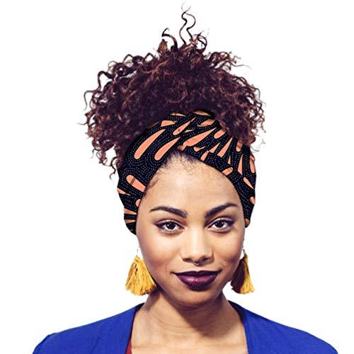 Yijinstyle Damen Kopftuch Printed Turban Afrikanischen Muster Knoten Schlaf Elegante Hijab Headscarf (Style#32, 12 * 200cm)
