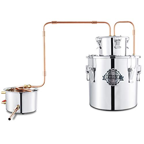 DEWOSEN 3GAL/12L Moonshine Still Purifying Water Alcohol Distiller,Home Brewing Kit Stainless Copper Tube With Thumper Keg Submarine PUMP 3-Piece Airlock for DIY Brandy Whisky Wine Essential Oils