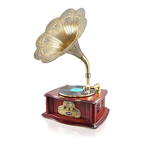 Pyle PUNPCD65BT Vintage Retro Classic Style Bluetooth Turntable Phonograph Speaker Sound System
