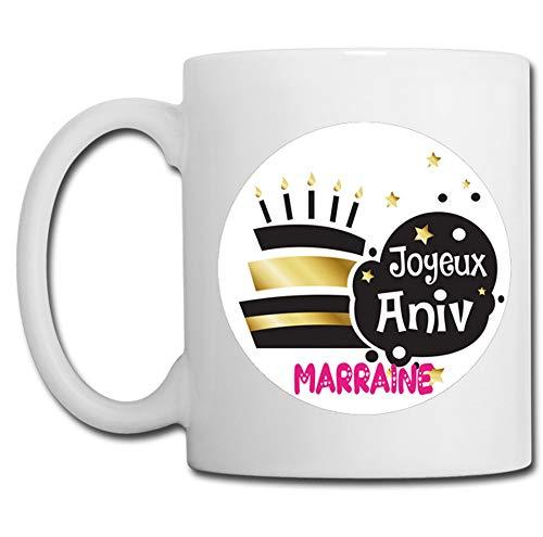 Linyatingoshop - Tazza con scritta 'Joyeux Anniv Marraine', in Francia, idea regalo per la mamma