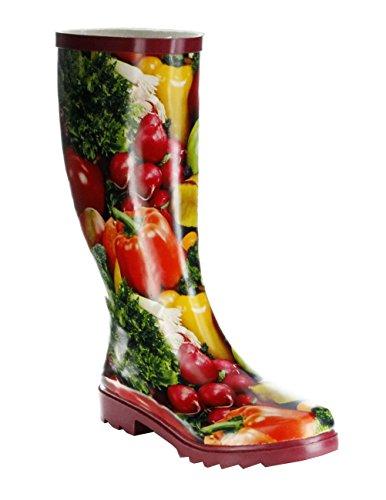 ConWay Gummistiefel rot Regenstiefel Damen Stiefel Schuhe Gemüse, Farbe:rot, Größe:37 EU