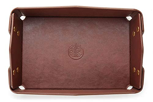 OARIE Leather Tray Bedside Tray Storage Tray Jewelry Organizer for Men Key Wallet Coin Box Travel PU Valet Tray(Dark Brown)