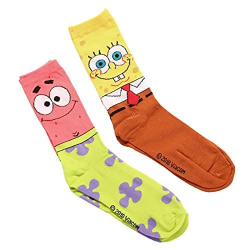 Hyp Spongebob Squarepants and Patrick Adult Men's 2 Pair Pack Crew Socks