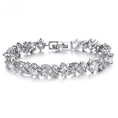 NHGF Pulseras de mujer con circonitas incrustadas con diamantes, regalo del día de San Valentín, adecuado para madres, esposas y novias.