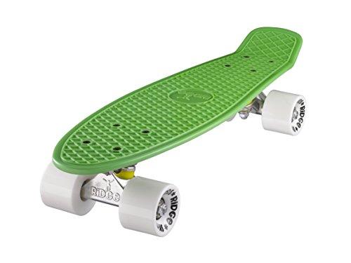 Ridge Skateboard 55 cm Mini Cruiser Retro Stil In M Rollen Komplett U Fertig Montiert Grün Weiss,