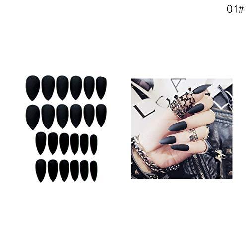 Künstliche Fingernägel, spitz, matt, lange Abschnitte, 24 Stück