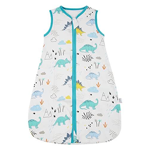 WangsCanis Toddler - Saco de dormir para bebé - Saco de dormir para bebé - Saco de dormir de verano - Cremalleras lisas ajustables - Unisex - Finas finas - Ropa ligera Jurásico Small