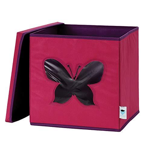 STORE IT Spielzeugkiste mit Sichtfenster, Vlies Material, Schmetterling-pink/lila, 30 x 30 x 30 cm