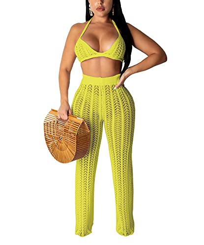 Salimdy Womens Sexy Knitted Hollow Out Wide Leg Pants See Through High Waist Beach Pants Bikini Swimsuit Cover Up Green M