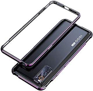 iQOO Neo3 5G ケース iQOO Neo3 バンパー ストラップホール 専用アルミニウム製保護ケース iQOO Neo3 5G メタルサイドバンパー (ブラックブルー)