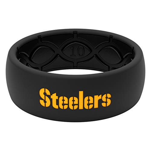 NFL Pittsburgh Steelers - Groove Life Silicone Wedding Ring for Men Breathable Rubber Rings for Men, Lifetime Coverage, Unique Design, Comfort Fit Mens Ring - Original Black/Yellow Size 10