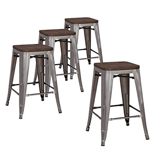 LCH 24' Metal Industrial Counter Height Bar Stools, Set of 4...