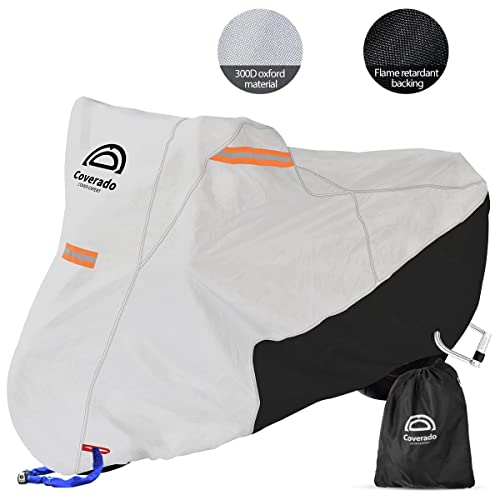 """Coverado Motorcycle Cover Waterproof, All Weather Protection Outdoor Full Motorcycle Covers - UV Proof with Flame Retardant Fabric Fit for Harley Davidsion Yamaha Honda Suzuki (up to 93"""" Motors)"""