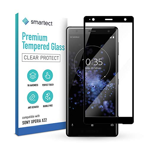 smartect Schutzglas kompatibel mit Sony Xperia XZ2 [FULL ] - Tempered Glass mit 9H Festigkeit - Schutzfolie bedeckt ganzes Bildschirm komplett Full Cover