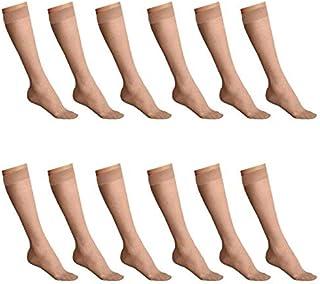 Carina Socks - Set of 12 - Voile Socks Knee High - For Women - Beige