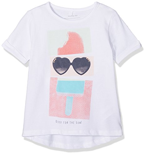 Name It Nmfderikke SS Top T-Shirt, Blanc (Bright White), 92 Bébé Fille