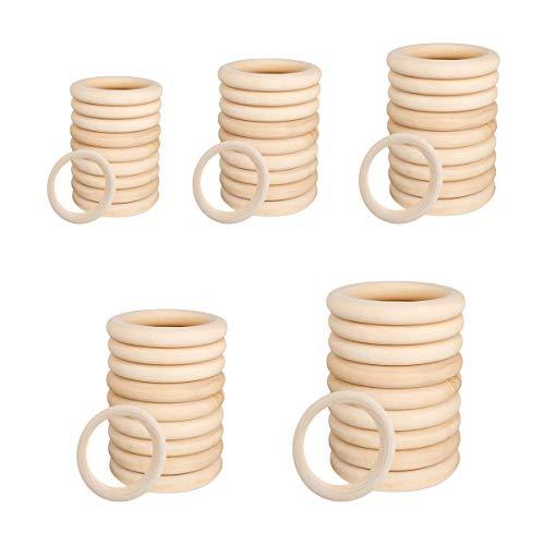 LATTCURE 50 Stück Natürliche Holzringe Schmuck Glatt Holz Kreis für Basteln DIY Handwerk Ring Anhänger und Anschlussstück Schmuck Machen Baby Spielzeug