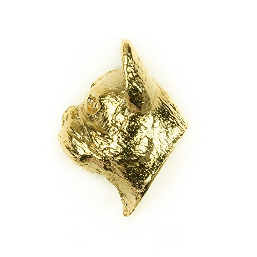 French Bulldog Head Made in U.K Artistic Style Dog Clutch Lapel Pin Collection 22ct Gold Plated