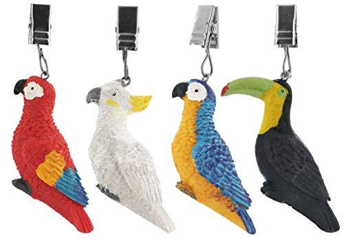 My-goodbuy24 Tischdeckenbeschwerer mit Klammer - 4er Set - Tischdeckenhalter Garten Tischdeckenklammern Tischtuch Clips - Polystone - Vögel