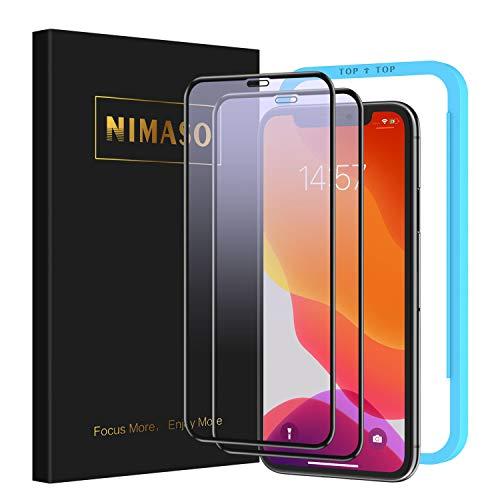 【ブルーライトカット】【2枚セット】 Nimaso iPhone 11 / iPhone XR 用 全面保護フィルム 強化ガラス 【フルカバー】保護フィルム 【ガイド枠付き】( 6.1 インチ iPhone11 / iPhoneXR 用 フィルム )