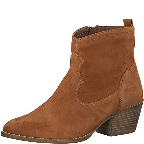 Tamaris Damen Stiefel 25700-34, Frauen Cowboy Stiefel, leger Boots Stiefelette lederstiefel Western-Stiefel reißverschluss,Cuoio,38 EU / 5 UK