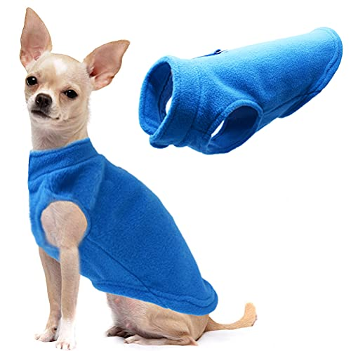 Dog Fleece Vest Soft Winter Jacket Sweater with D-Ring Leash Cold Weather Coat Hoodie for Small Medium Large Dogs Blue Medium