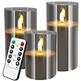 BRIGHTFUN Gray Glass Flameless Candles Set of 3 (D:3' X H:4'/5'/6') Realistic Flickering Battery Operated Candles Real Wax LED Pillar Candle with 10-Key Remote Control Timer for Party Festival Decor