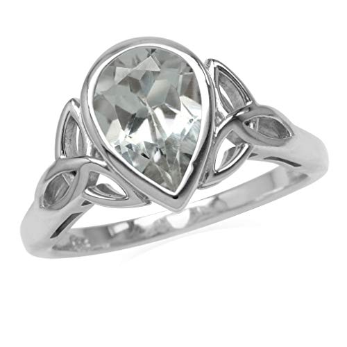 Silvershake Genuine 2.2ct. 10X7mm White Topaz 925 Sterling Silver Triquetra Celtic Knot Ring Size 8