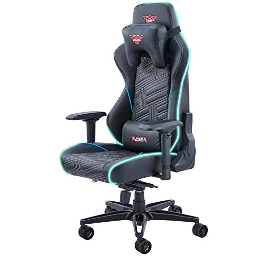 EUREKA ERGONOMIC Black Gaming Chair, Home Office PC Gaming Chair RGB Lights High Back Racing Style Swivel Executive Leather Ergonomic Chair with Lumbar Support&Headrest, GC-03