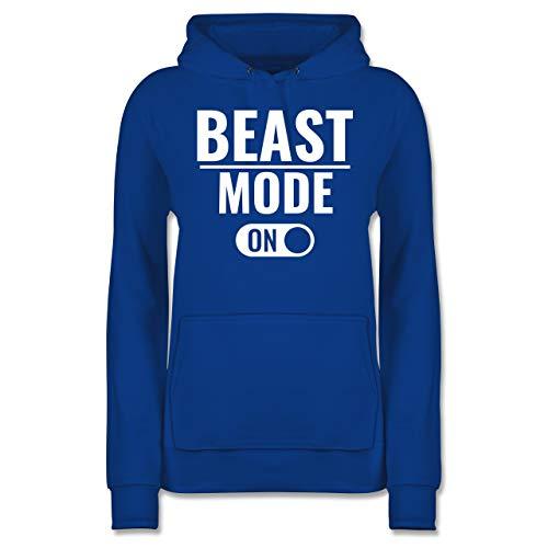 Fitness & Workout - Beast Mode ON - L - Royalblau - Statement - JH001F - Damen Hoodie und Kapuzenpullover für Frauen