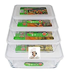 Sizes : 19cm x 14cm x 4cm deep - 22cm x 17cm x 5cm deep - 25cm x 20cm x 7.5cm deep 27cm x 23cm x 9cm deep Great for storage of those pre made meals. Freezer to Oven - Oven to table Set of three rectangular dishes with plastic lids Space saving becaus...