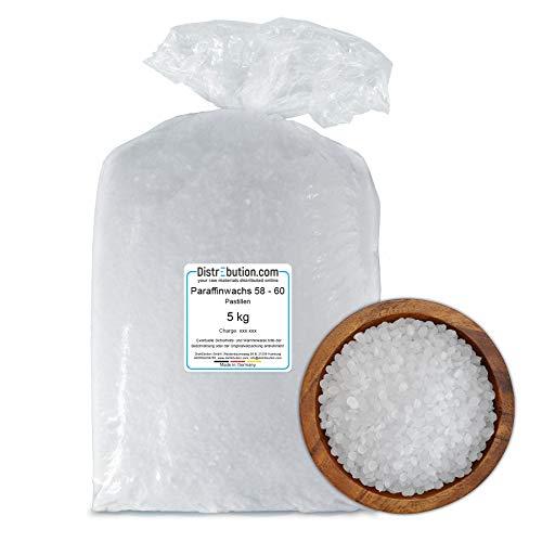 DistrEbution Paraffin 58-60°C in Pastillen, Made in Germany, Paraffinwachs/Kerzenwachs, für Kerzenherstellung, Kosmetika und mehr, wenig Öl (5 kg)