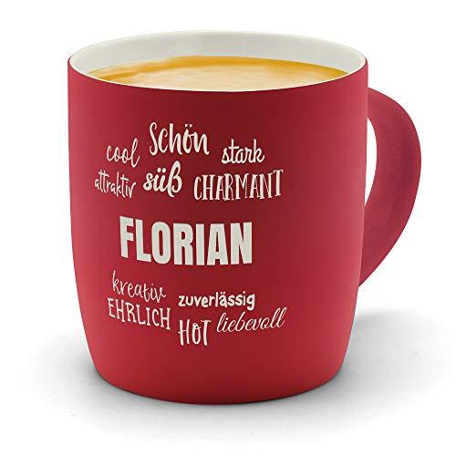 printplanet - Kaffeebecher mit Namen Florian graviert - SoftTouch Tasse mit Gravur Design Positive Eigenschaften - Matt-gummierte Oberfläche - Farbe Rot