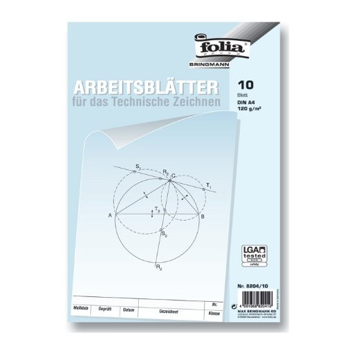 folia 8204/10 - Zeichenpapier, Block mit Arbeitsblättern für technisches Zeichnen, DIN A4, 10 Blatt, 120 g/qm, weiß, mit Vordruck