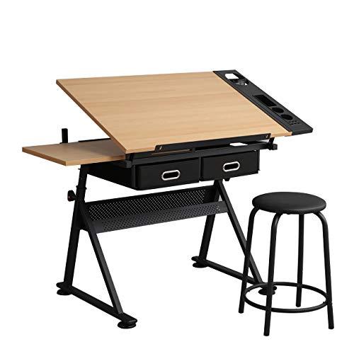 SogesPower Table à dessin de table inclinable avec tabouret, bureau de dessin d'artisanat d'art, poste de travail de conception d'architecture de bureau