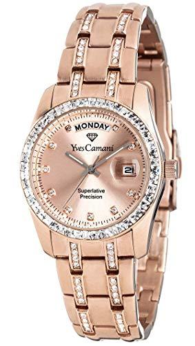 Ives Camani IT YC600G-RG Orologio da Polso, Quadrante Analogico da Donna, Cinturino in Acciaio Inox, Colore Rosa