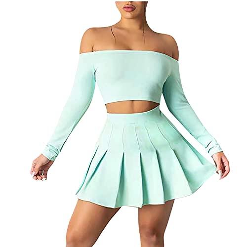 Conjunto de ropa deportiva para mujer con hombros descubiertos y falda corta de skate, manga larga con hombros descubiertos. verde menta XL